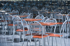chairs and tables in fastfood cafe Stock Images