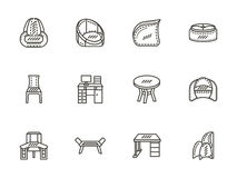 Chairs and tables flat line icons set Royalty Free Stock Image