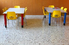 Chairs and tables in a kindergarten classroom Royalty Free Stock Image