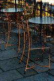 Chairs and tables in an outdoor cafe Stock Photo
