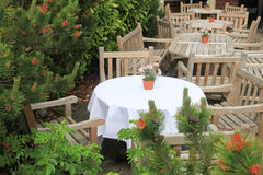 Chairs and tables in an outdoor cafe Royalty Free Stock Photography