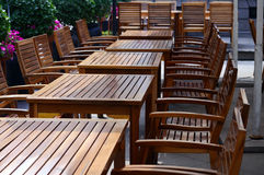 Restaurant chairs and tables. Chairs and tables in an outdoor restaurant Royalty Free Stock Images