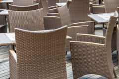 Chairs and tables in outdoor restaurant Royalty Free Stock Photos
