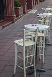 Chairs and tables outside the cafe in the morning Royalty Free Stock Photo