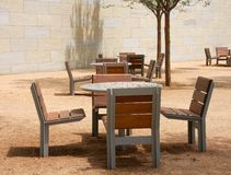 Chairs and tables on the park Stock Photography