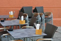 Chairs and tables of a sidewalk café Royalty Free Stock Photography