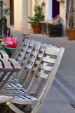 Chairs and tables in sidewalk cafe Stock Images