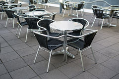 Chairs and tables of stainless steel Royalty Free Stock Photos