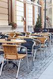 Chairs and Tables on Terrace Stock Images