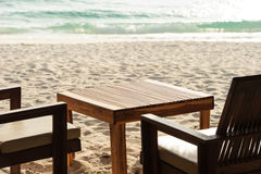 Chairs and tables of tropical restaurant Royalty Free Stock Photos