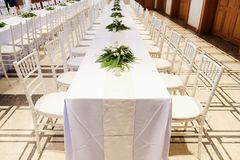 Chairs and tables in white royalty free stock images