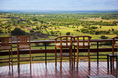 Chairs on terrace. Savanna landscape in Serengeti, Tanzania, Africa Stock Photo