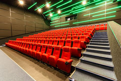 Chairs in a theater. Red chairs in the cinema Stock Photography
