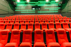 Chairs in a theater. Red chairs in the cinema Royalty Free Stock Photography