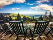 Chairs with top of the mountain view Royalty Free Stock Images