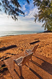 Chairs on a tropical beach with sunset views Royalty Free Stock Photos
