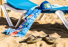 Chairs and Umbrella on the Beach Royalty Free Stock Images