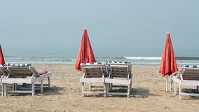 Chairs with Umbrella near the Beach. At sunny day stock video