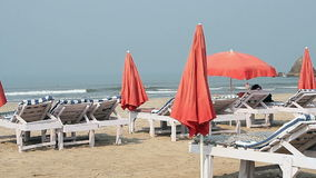 Chairs with Umbrella near the Beach stock video footage