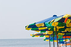 Chairs and umbrella on stunning tropical beach Royalty Free Stock Image