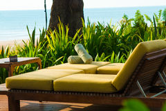 Chairs and umbrella on stunning tropical beach. In Hua Hin Thailand Royalty Free Stock Photo