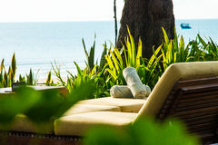 Chairs and umbrella on stunning tropical beach. In Hua Hin Thailand Stock Image