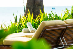 Chairs and umbrella on stunning tropical beach. In Hua Hin Thailand Royalty Free Stock Image