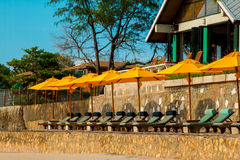 Chairs and umbrella on stunning tropical beach. In Hua Hin Thailand Royalty Free Stock Photography