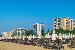 Chairs and umbrellas on a beautiful beach at sunrise in Sunny Beach on the Black Sea coast of Bulgaria. Accomodation lounge blue bulgarian coastline copy space royalty free stock photo