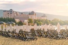 Chairs and umbrellas on a beautiful beach at sunrise in Sunny Beach on the Black Sea coast of Bulgaria. Lounge bulgarian coastline day horizontal morning no stock photo