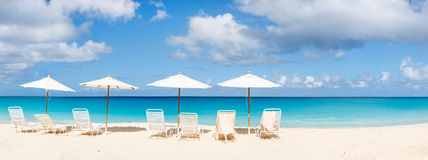 Beautiful Caribbean beach panorama Stock Photos