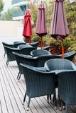 chairs and umbrellas outdoor Royalty Free Stock Image