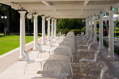 Chairs under a patio Royalty Free Stock Photos