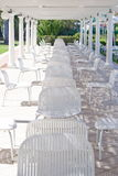 Chairs under a patio Stock Image