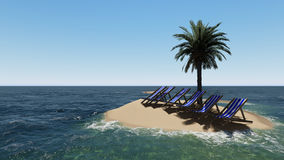Chairs under an umbrella at the beach by sunny day and  palm trees Royalty Free Stock Images