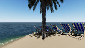 Chairs under an umbrella at the beach by sunny day and  palm trees Stock Photos