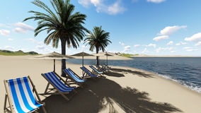 Chairs under an umbrella at the beach by sunny day and  palm trees Royalty Free Stock Photography