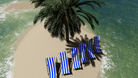 Chairs under an umbrella at the beach by sunny day and  palm trees Stock Images