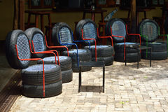 Chairs from used car tires Royalty Free Stock Images