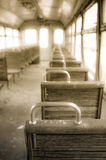 Chairs in vintage train Stock Image