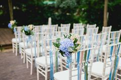 Chairs from wedding ceremony Royalty Free Stock Photos