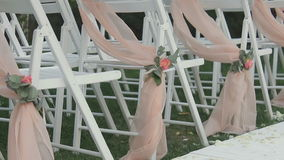 Chairs for a wedding ceremony stock footage