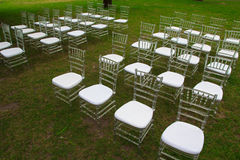 Chairs for the wedding ceremony. In the park Stock Photos