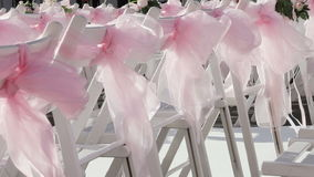 Chairs for the wedding ceremony stock footage