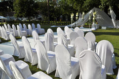 Chairs for the wedding ceremony. Set of chairs for the wedding ceremony Royalty Free Stock Photo