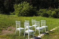 Chairs  on wedding ceremony Royalty Free Stock Photography