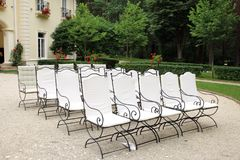 Chairs at the wedding ceremony Wedding concept. Chairs at the wedding ceremony. Wedding concept Royalty Free Stock Image