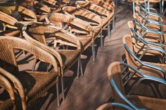 Chairs for wedding ceremony. Wood chairs for wedding ceremony royalty free stock image
