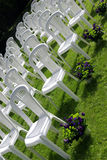 Chairs at a wedding reception Stock Images