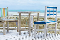 Chairs on wooden deck Royalty Free Stock Photo